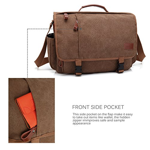 CoolBELL Messenger Bag 15.6 Inch Canvas Briefcase Vintage Shoulder Bag Laptop Case Mens Handbag Business Briefcase Multi-Functional Travel Bag for Men/Work / College/Student (Coffee) by CoolBELL (Image #3)