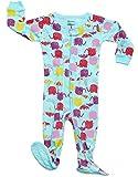 DinoDee Footed Sleeper Pajama 100% Cotton (18-24 Months, Elephant Aqua)