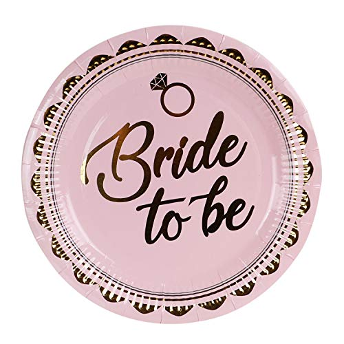 Geeklife Gold Bride to be Paper Plates,9 in Paper Party Dessert Plates,20 Count Decorative Tableware Set
