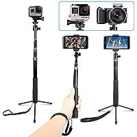 AFAITH Waterproof Selfie Stick Aluminum Alloy Hand Grip Telescopic Handheld Monopod for GoPro Hero 6/5/ Hero 4/3+ , iPhone 7 / 7 Plus / 6s Plus , Samsung Galaxy S8 Edge S7 and Smartphones Cameras