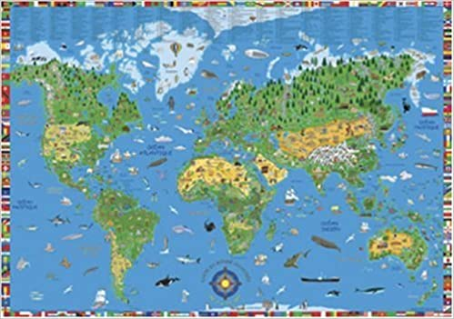 Illustrated Childrens World Map KS Kids World Wall Map World - Wall maps of the world