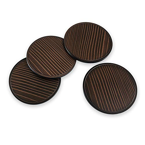 (Questech TILE816070003 Woodgrain Pattern Set Of 4 Drink Coasters 3.85 inches Oil Rubbed)