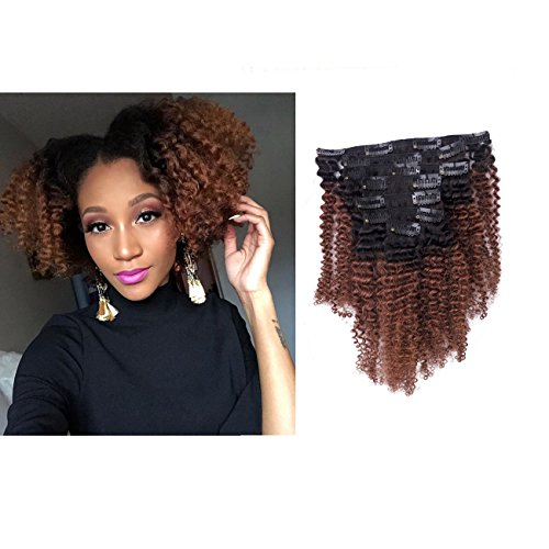 Beauty : Anrosa Virgin Hair Afro Kinky Clip ins Human Hair Extensions Kinky Curly Clip in Natural Hair Extensions for African American Black Women Brazilian 3C 4A 4B Curly Hair Dark Brown Color 120g 10 Inch