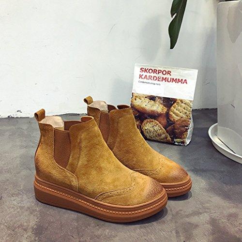 Hiver Loisir Épais Coton Automne Smelle Demi Femmes Inconnu Botte Boots Suédé Chaussures tf6SqTnBc