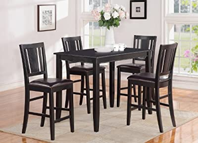 East West Furniture BUCK5-BLK-LC 5-Piece Gathering Table Set