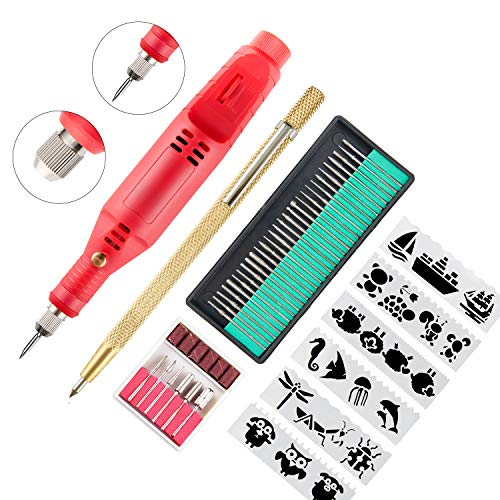 Electric Micro Engraver Pen Mini DIY Engraving Carve Tool Kit for Metal Glass Ceramic Plastic Wood Jewelry with Scriber Etcher 36 Bits and 6 Polishing Head and 16 Stencils