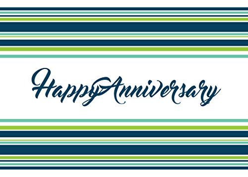 Anniversary Greeting Cards - A1602. Business Greeting Card Featuring an Image of Happy Anniversary in Script with Green and Blue Stripes. Box Set Has 25 Greeting Cards and 26 Bright White Envelopes.