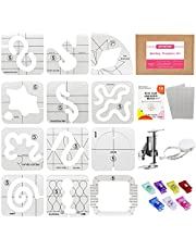 Quilting Templates Set for Domestic Sewing Machine, Includes 11Pcs Acrylic Quilting Rulers with 1Pcs Frame | 56Pcs Non-Slip Grips | 1Pcs Embroidery Presser Foot | 7Pcs Clips | 1Pcs Tape Measure