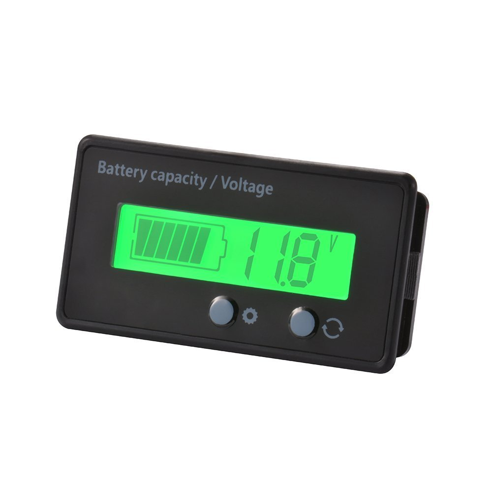 LCD Battery Capacity Monitor Gauge Meter,Waterproof 12V//24V//36V//48V Lead Acid Battery Status Indicator,Lithium Battery Capacity Tester Voltage Meter Monitor Blue Backlight for Vehicle Battery