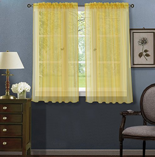 Luxury Discounts 2 Piece Solid Elegant Sheer Curtains Fully