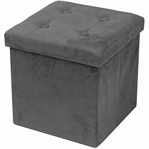 Sorbus Storage Ottoman Bench – Collapsible/Folding Bench Chest with Cover – Perfect Toy and Shoe Chest, Hope Chest, Pouffe Ottoman, Seat, Foot Rest, – Contemporary Faux Suede (Gray) - Small Storage Bench