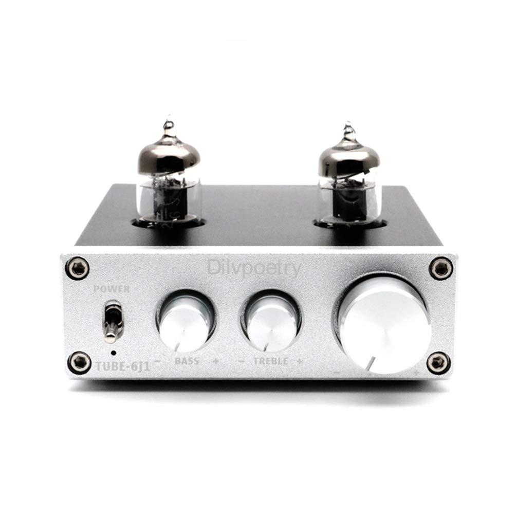 Dilvpoetry TUBE-6J1 HiFi Stereo Buffer Preamp Replaceable 6J1 Vacuum Tube Pre-Amplifier Adustable Treble Bass(Black) Dilvpoetry-TUBE-6J1