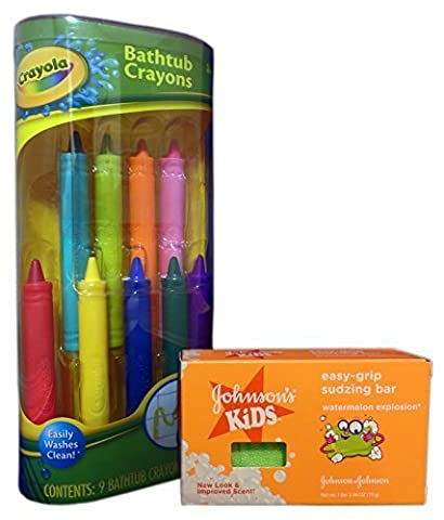 Bath Fun with Crayola Bathtub Crayons and Johnson's Kids Easy-Grip Sudzing Bar Bundle. 2 Items: Crayons and (Toddler Non Toxic Paint)
