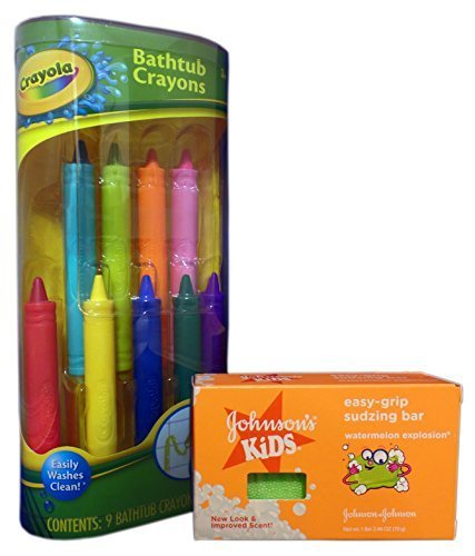 - Bath Fun with Crayola Bathtub Crayons and Johnson's Kids Easy-Grip Sudzing Bar Bundle. 2 Items: Crayons and Soap