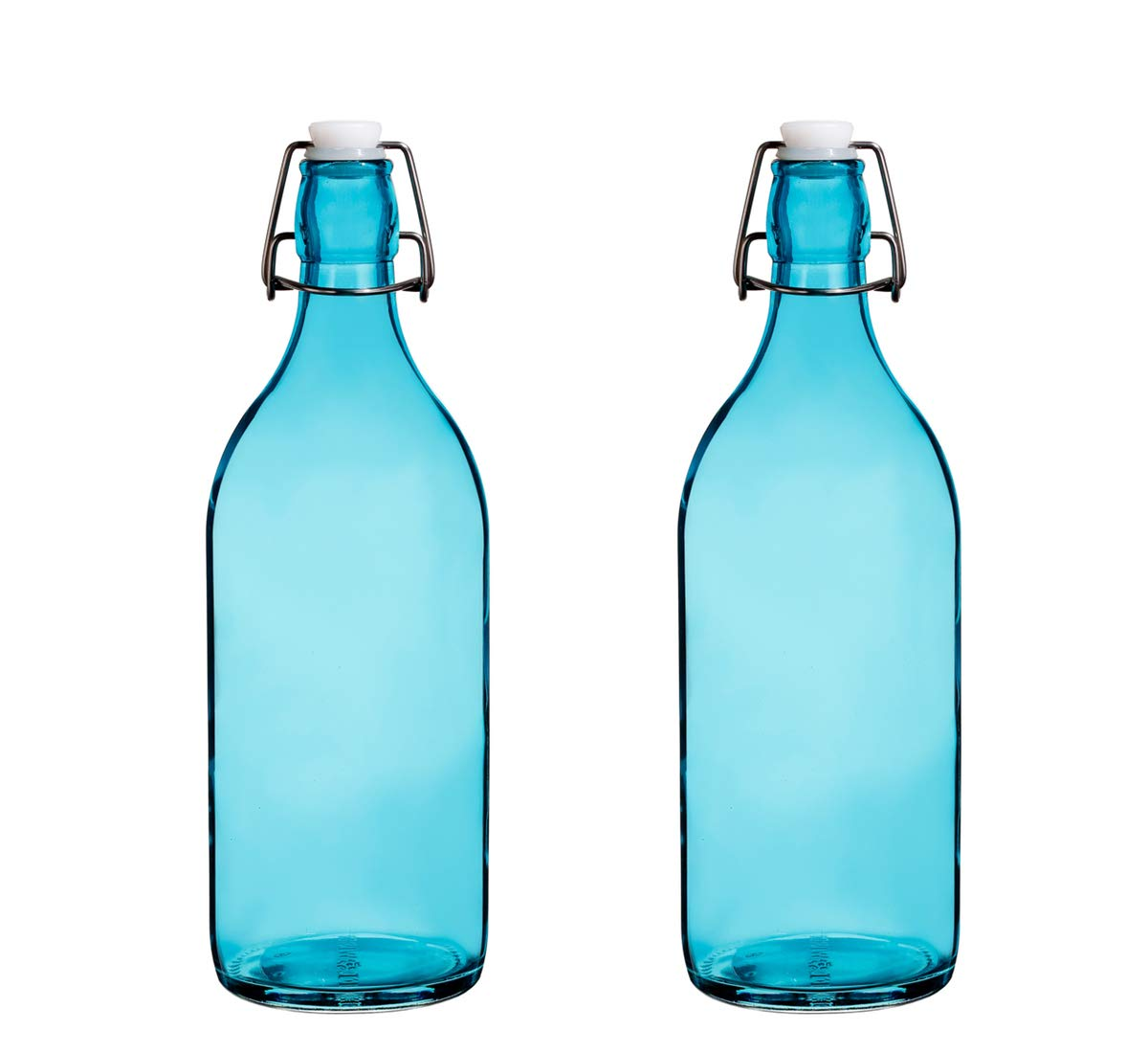 Set Of 2, Colorful Reusable Glass Water Bottles With Swing Top Leakproof Cap, 1L/34oz, Flowersea Glasss Water Bottle for Home Brewer, Beverages, Fridge, Kombucha,Water, Beer (Blue, Round)
