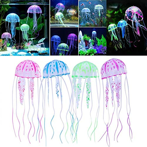Stock Show 4Pcs Jellyfish Aquarium Glowing Artificial Silicone Vivid Jellyfishs for Aquarium Fish Tank Decor Aquarium Decoration, Green+Pink+Blue+Purple