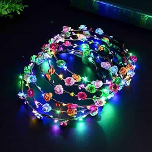 Flower Crown, 5 PCS Led Flower Wreath Headband Luminous 10 Led Flower Headpiece Flower Headdress For Girls Women Wedding Festival Holiday Christmas Halloween Party (colorful)
