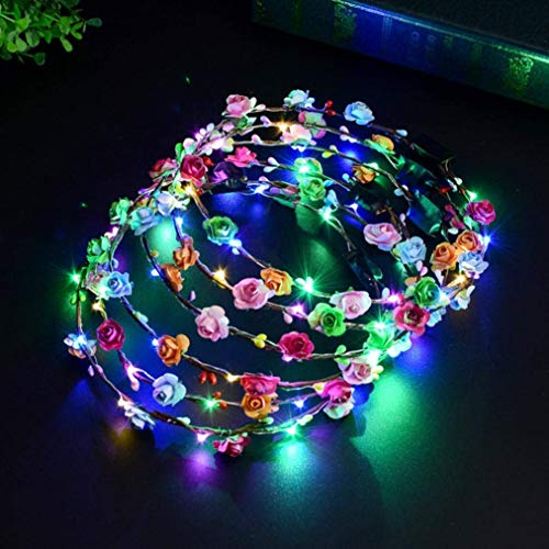 heytech LED Flower Crown, 5PCS Wreath Headband Luminous 10 Led Flower for Girls Women Wedding Christmas