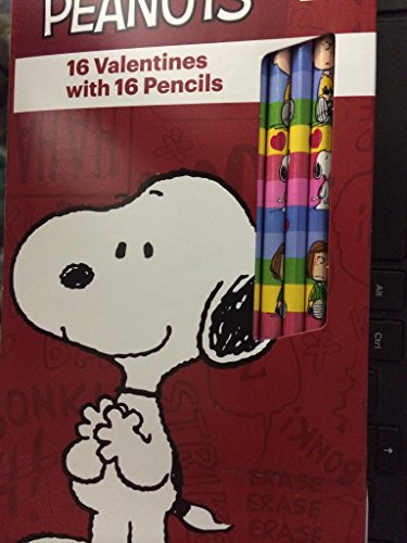 Peanuts Snoopy 16 Valentines Cards with Pencils