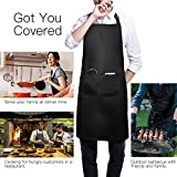 Avorast 2 Pack Black Aprons Water Drop Resistant Chef Kitchen Cooking Bib Apron