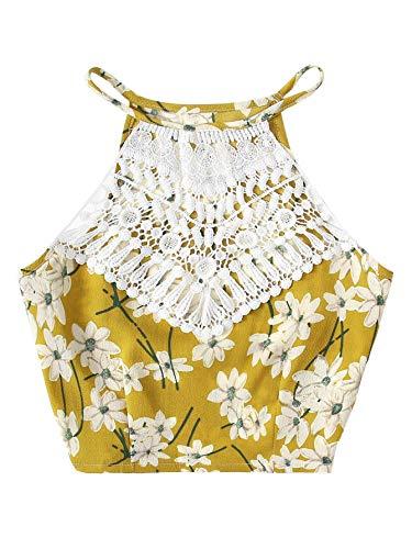 Milumia Women Boho Lace Panel Floral Print Halter Cami Crop Top Camisole Vest Yellow-Flower XL