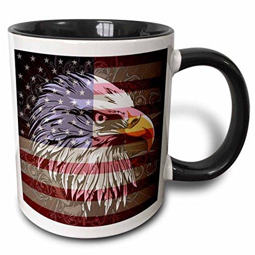 3dRose 3dRose Ornate Patriotic Bald Eagle and USA American Flag Pride Great for Fourth Of July Independence Day - Two Tone Black Mug, 11oz (mug_116181_4), Black/White