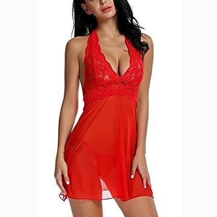 Stocking Lying Ropa Interior De Mujer Sexy Halter Lace Bodydoll Sin Respaldo Transparente Camisón Ropa Interior