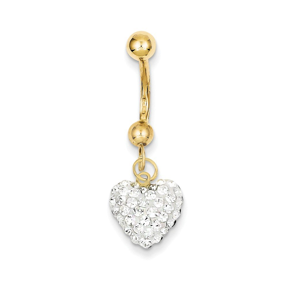 10k Yellow Gold With Dangle White Crystal Heart Belly Dangle by Nina's Jewelry Box