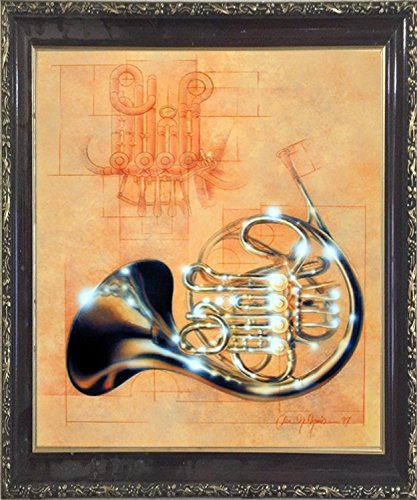 French Wall Horn - Impact Posters Gallery Framed Wall Decor French Horn Musical Instrument Dan McManis Mahogany Black Picture Art Print