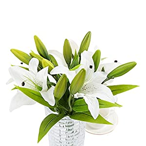 Asdomo 5 pcs Artificial Tiger Lily Natural Real Touch White Lilies Flowers Bouquets Latex Real Touch Flower for Home Wedding Party Decor 3 Heads per Piece 24