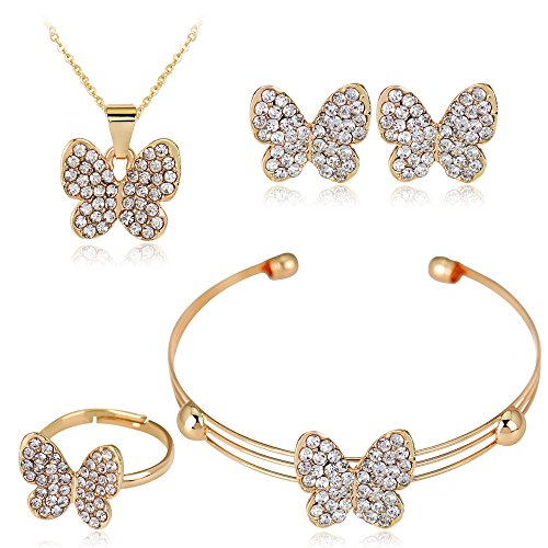CHUYUN Wedding Jewelry Sets Gold Plated Butterfly Pendant Necklaces Earring Rings Bracelet Bangles Engagement Set For - Ring Bracelet Butterfly