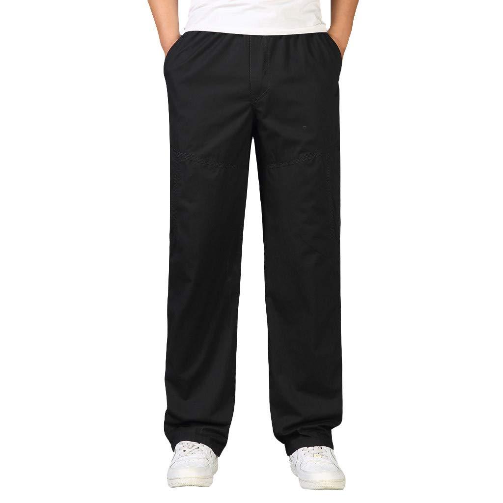 Eruption_X  Mens Plus Size Casual Cargo Pants Loose Straight Sweat Pants Outdoor Pants Size 3XL-6XL Black