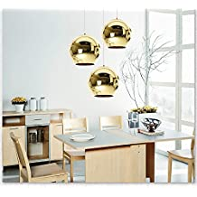 SmileyEU 20CM Retro Polished Copper Effect Lamp Shade Globe Style Dome Ceiling Pendant Light Shade Room Kitchen Cafe Ball Shaped Hanging Lampshade