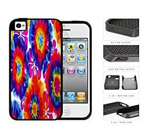 Tie Dye Hippie Flower Power Design 2-Piece Dual Layer High Impact Rubber Silicone Cell Phone Case Apple iPhone 4 4s