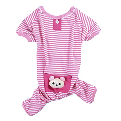 Woo Woo Pets Cute Animal Soft Coats Pet Dog Cotton Pajamas Pets Stripes Jumpsuit Clothes Pink Bear Pocket Medium