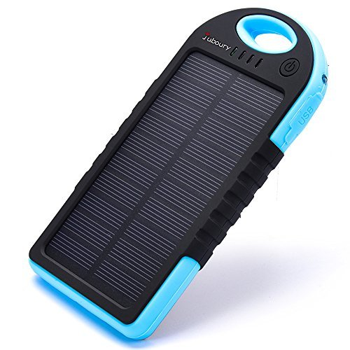Solar Charger,Juboury 5000mAh Solar Power Bank Dual USB Port Portable Charger,3-proofing Design(Waterproof,Dust-Proof and Shock-Resistant)Solar Battery Charger for iPhone,iPad,Cell Phone,Camera(Blue)
