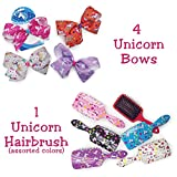 little mermaid hair brush - Set of 4 Medium 5.5 inch Cheer Gross Ribbon Hair Bows Prints or Solids (Unicorns with Hair Paddle Brush)