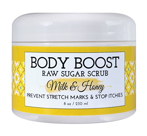 Body Boost Milk & Honey Sugar Scrub 8 oz- Pregnancy & Nursing Safe Skin Care by Body Boost