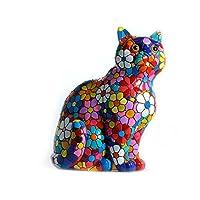 Laure TERRIER Statua di gatto in ceramica, modello Flowers mosaico Barcino. Altezza 30 centimetri