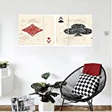 Liguo88 Custom canvas Lifestyle Decor Ace of Diamonds Clubs Poker Cards Game Grunge Gambling Fortune Illustration Wall Hanging for Bedroom Living Room Cream Red