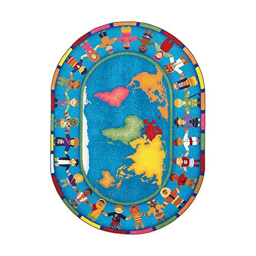 Joy Carpets Kid Essentials Early Childhood Oval Hands Around The World Rug, Multicolored, 5'4'' x 7'8'' by Joy Carpets