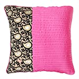 S4Sassy Decorative Cushion Cover Square Satin Pink Pillowcase Indian Décor 24 x 24