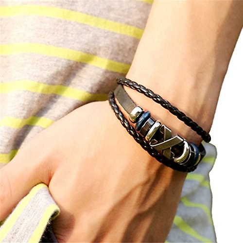 DZT1968(TM) 2015 Men Leather Jewelry Korea Punk Bracelet Stainless Steel Fittings