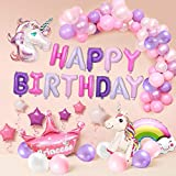 AYUQI Unicorn Party Decorations Supplies 63pcs, Huge 3D Unicorn Balloon, Cloud, Happy Birthday Balloon Banner, Star Balloon, Crown and Latex Party Ballons for Infant Girl Boy Lady Birthday Party with Ribbon