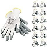 JORESTECH  Palm Dipped Nitrile Coated Seamless Knit Work Gloves PPE Hand Protection (Large) Pack of 12