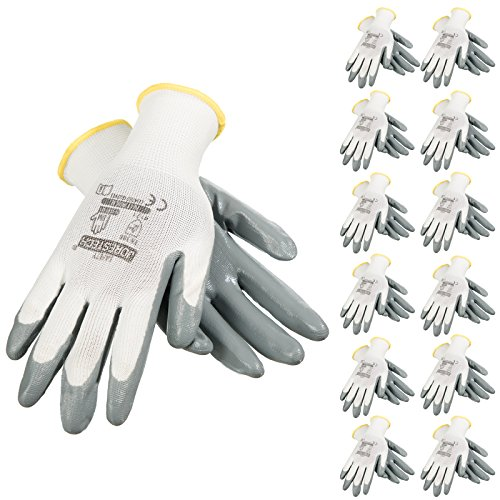 JORESTECH Palm Dipped Nitrile Coated Seamless Knit Work Gloves PPE Hand Protection (Extra Large) Pack of 12