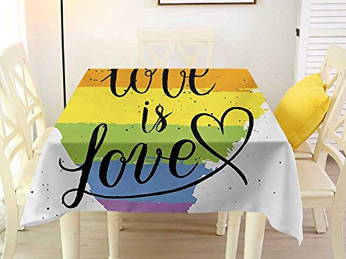 Square Tablecloth Vinyl Elastic Pride LGBT Gay Lesbian Parade Love Valentines Inspiring Hand Writing Paint Strokes Artistic Multicolor Decorative 50 x 50 Inch ()