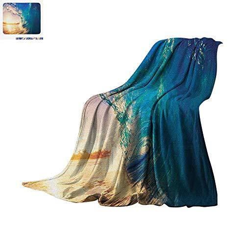 (Ocean Custom Design Cozy Flannel Blanket Ocean Wave at Sunrise Reflection on Surface Tropical Trees Shoreline Summer Picture Digital Printing Blanket 62