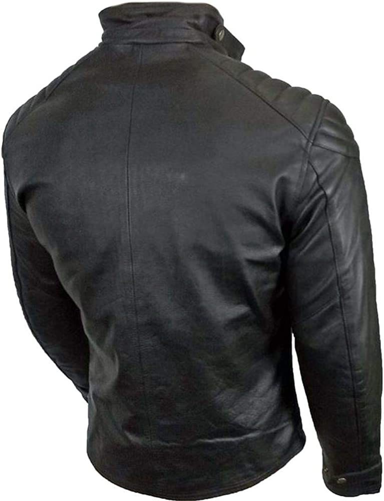Stormwise Mens Fashion Stylish Real Leather Moto Jacket