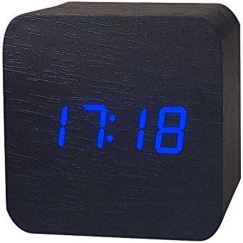 NEEKY Bois Réveil Numérique LED Mini Cube avec Date et